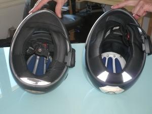 Ouverture et bas du casque, S1 à gauche, S1 Pro à droite